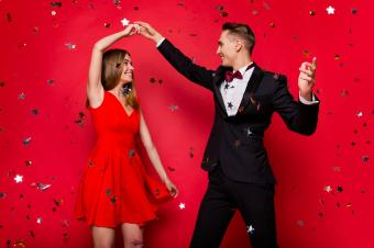 Red background with silver stars