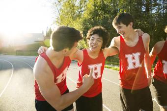 High school track and field athletes bonding