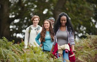 Teens hiking together