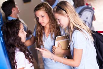 High school girl bullies in the hallway
