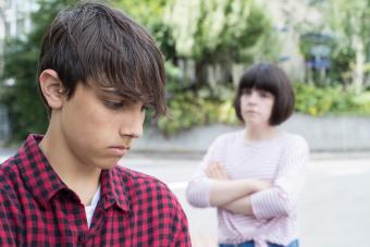 Unhappy young teen couple