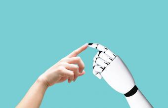 Cropped Hand Touching Robot