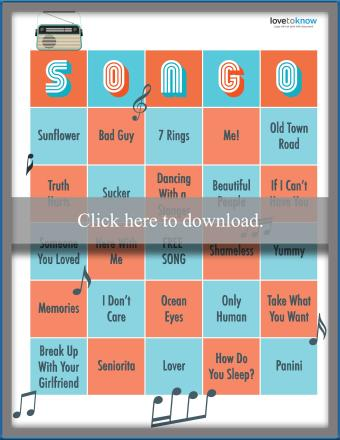 Popular Artist and Song Bingo