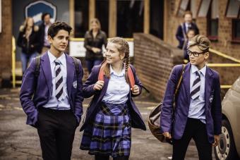 Boarding school teens walking together