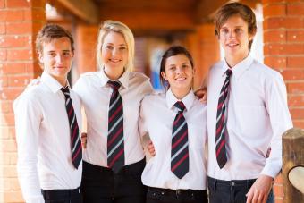 Teens wearing boarding school uniforms