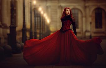 fashion model in old fashioned dress