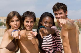 Teen friends enjoying the beach.