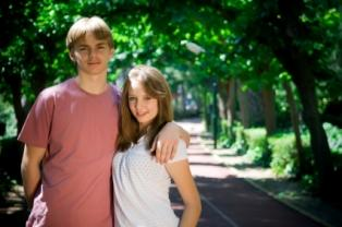 Photo of a teenage boy and girl in love