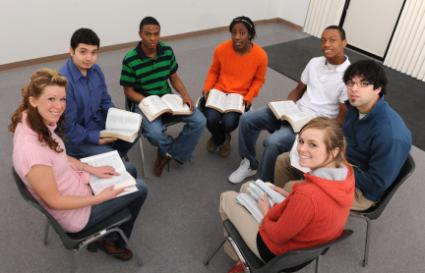 Youth group studying the Bible
