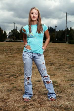 teen girl wearing ripped jeans you can make yourself