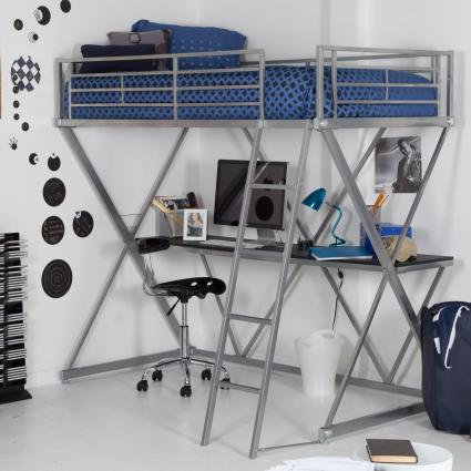 Bed loft and desk from Hayneedle http://www.hayneedle.com/sale/zbunkbedloftdesksilver.cfm