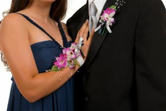 Coordinating corsage and boutonniere