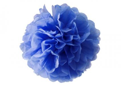 Image of a blue tissue paper pom pom