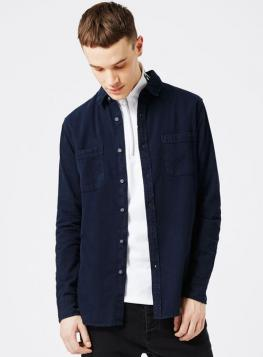 Navy Washed Twill Casual Shirt