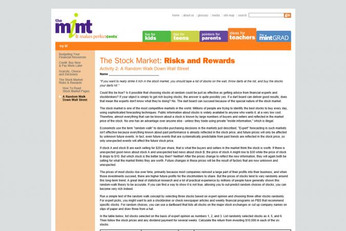 The Stock Market Risks and Rewards Activity screenshot