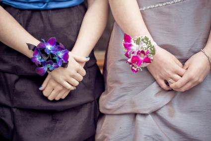 bright tropical flower wrist corsages