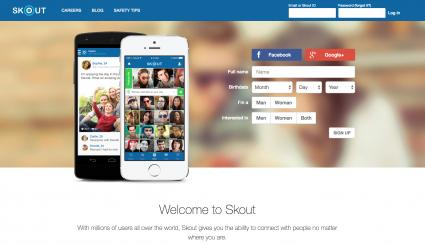 screenshot of skout website