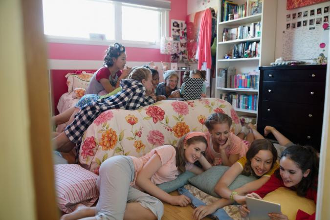 Group of teen girls at sleepover