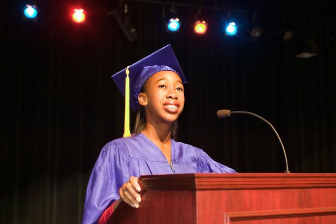 Woman speaker at graduation ceremony