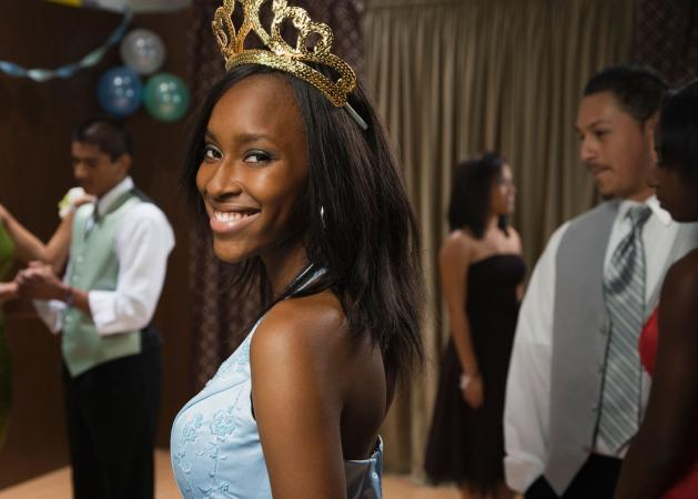Teen girl prom queen wearing tiara