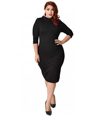Unique Vintage Plus Size 1960s Black Knit Half Sleeve Cassidy Wiggle Dress