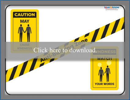 Caution Signs Anti-Bullying Poster Template