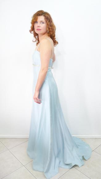 Vintage 1960s Dress Alfred Angelo Pale Blue Spaghetti strap Floor-length Empire Waist