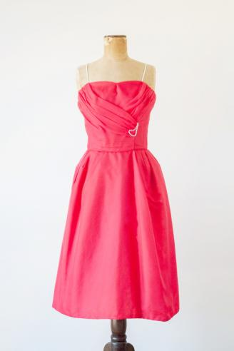 Red chiffon dress by Emma Domb