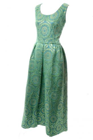 1960'S EMERALD GREEN METALLIC GOLD SATIN VINTAGE DRESS EVENING GOWN