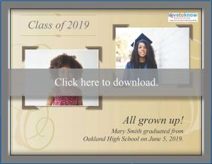 now and then printable graduation announcement