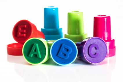 Colorful alphabet letter stamps
