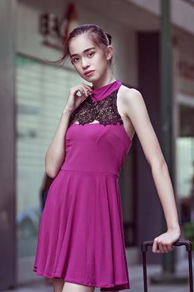 Teen girl wearing skater dress