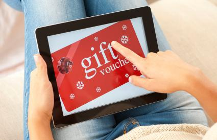 Teen buying gift voucher