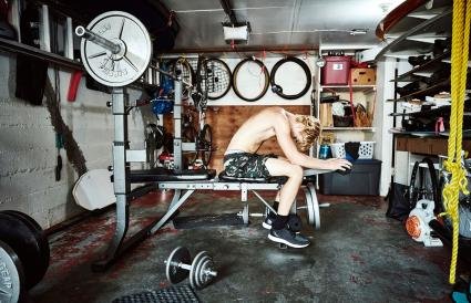 Teen boy working out