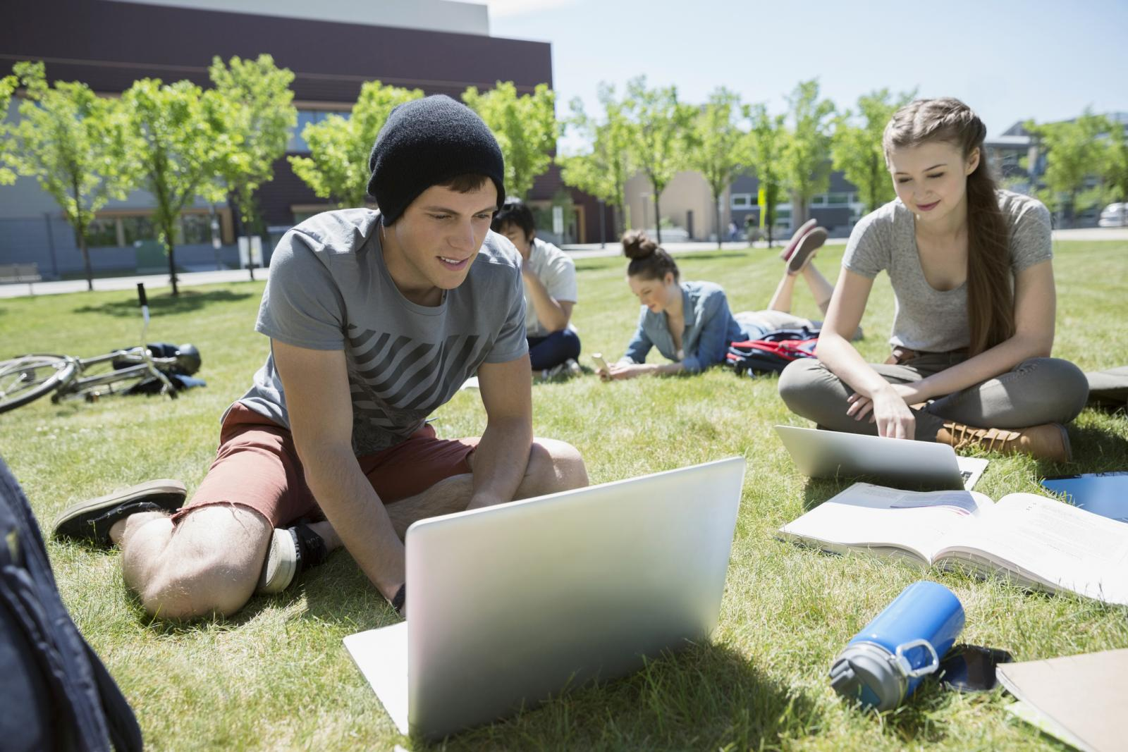 Students with laptops studying on sunny campus lawn