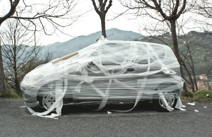 Car Wrapped In Plastic