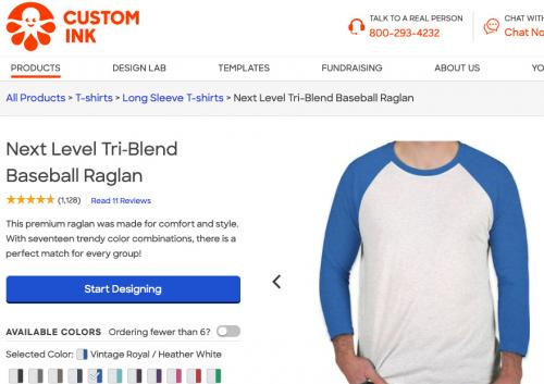 Screenshot of Custom ink raglan sleeve shirt