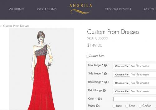 Screenshot of Agrila Custom Prom Dress page