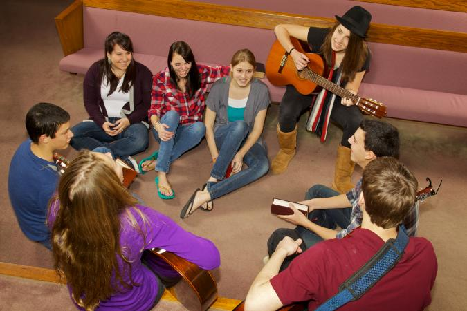 Church youth group in sanctuary