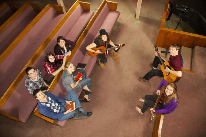 Youth group making music