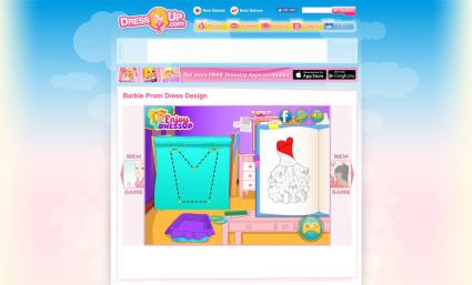 Screenshot of Barbie Prom Dress Design Game