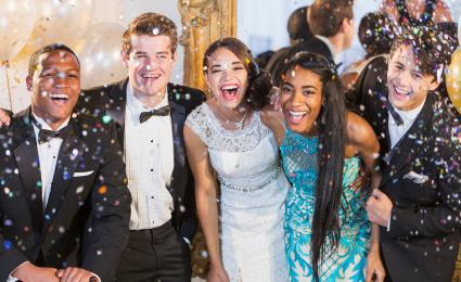 Teens having fun at prom