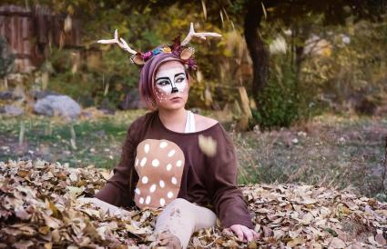 Girl dressed as a deer