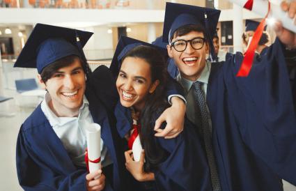Portrait of enthusiastic graduates