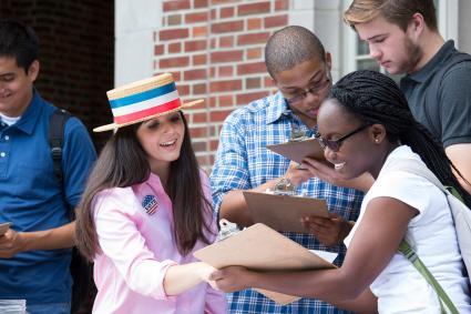 Kids volunteering at voter registration