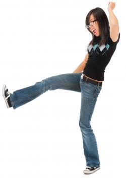 tall asian girl kicking