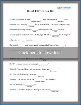 picture about Mad Libs Printable Pdf named Printable Nuts Libs for Superior College Learners LoveToKnow