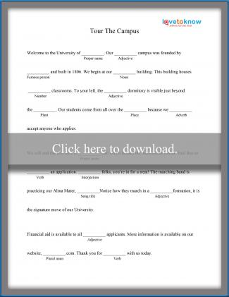 picture regarding Mad Libs Printable Pdf identified as Printable Insane Libs for Large University College students LoveToKnow