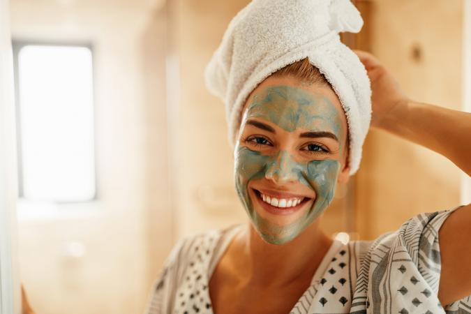girl wearing beauty facial mask