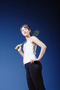 Teen with tennis racket